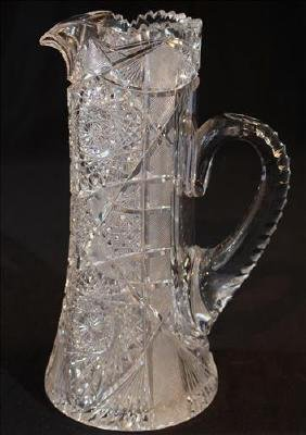 Brilliant cut glass water pitcher, 12 in. T, 8 in H-S