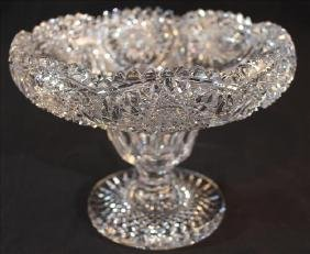 Very unusual brilliant cut glass center bowl, 9 in.