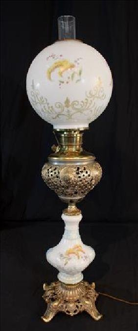 Hand painted brass and porcelain lamp, 34 in. T.