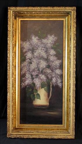 Oil on canvas still life of flowers in gold frame