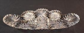 Brilliant cut glass celery dish with folded sides