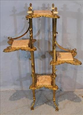 Brass Victorian parlor stand with alabaster inserts