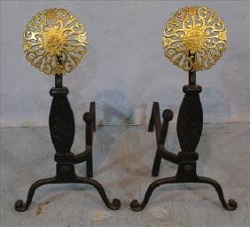 Pair hand hammered andirons with brass plaques