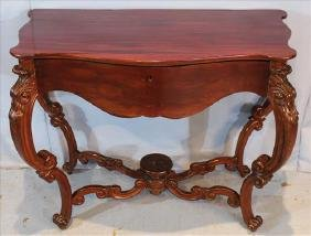 Mahogany Victorian console table with one drawer