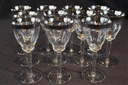 11 piece set crystal stemware with sterling rims