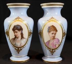 Robin egg blue Old Paris vases with gold trim, 13 in.