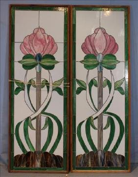 Pair Stained Glass Windows, 27.5 In. W, 77 In. T.