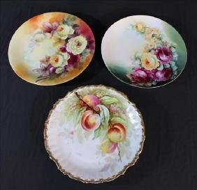 3 piece hand painted Limoges chargers, 12 in. R.