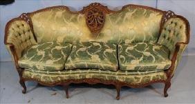 Walnut heavily carved French sofa