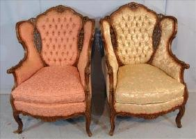 Pair French walnut wing back parlor chairs, ca. 1920