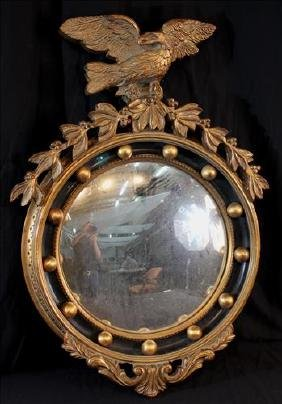 Federal convex decorator mirror with eagle on crown