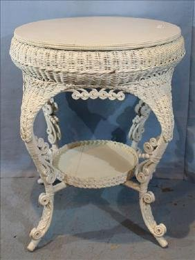 Victorian wicker center table with oak top