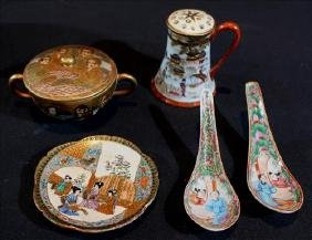 5 pieces, Chinese hand painted Chinese porcelain