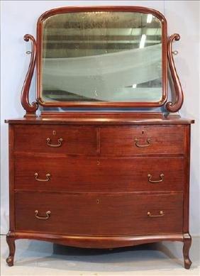 Mahogany 4 drawer dresser with mirror
