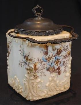Victorian porcelain biscuit jar with painted flowers