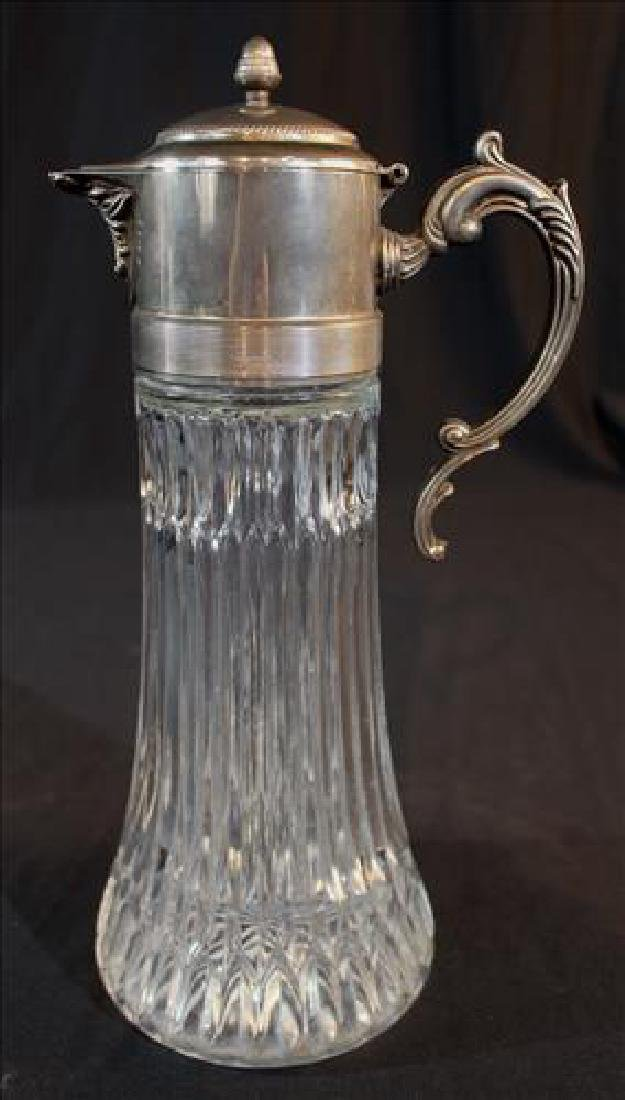 Victorian crystal and silver-plate water pitcher