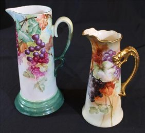 2 pieces, hand painted tankards, 1 is Limoges