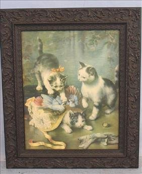 Victorian framed print of cats, signed, 26 x 22