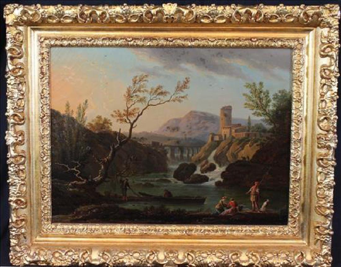 Oil on canvas in gold frame of French castle scene, 22