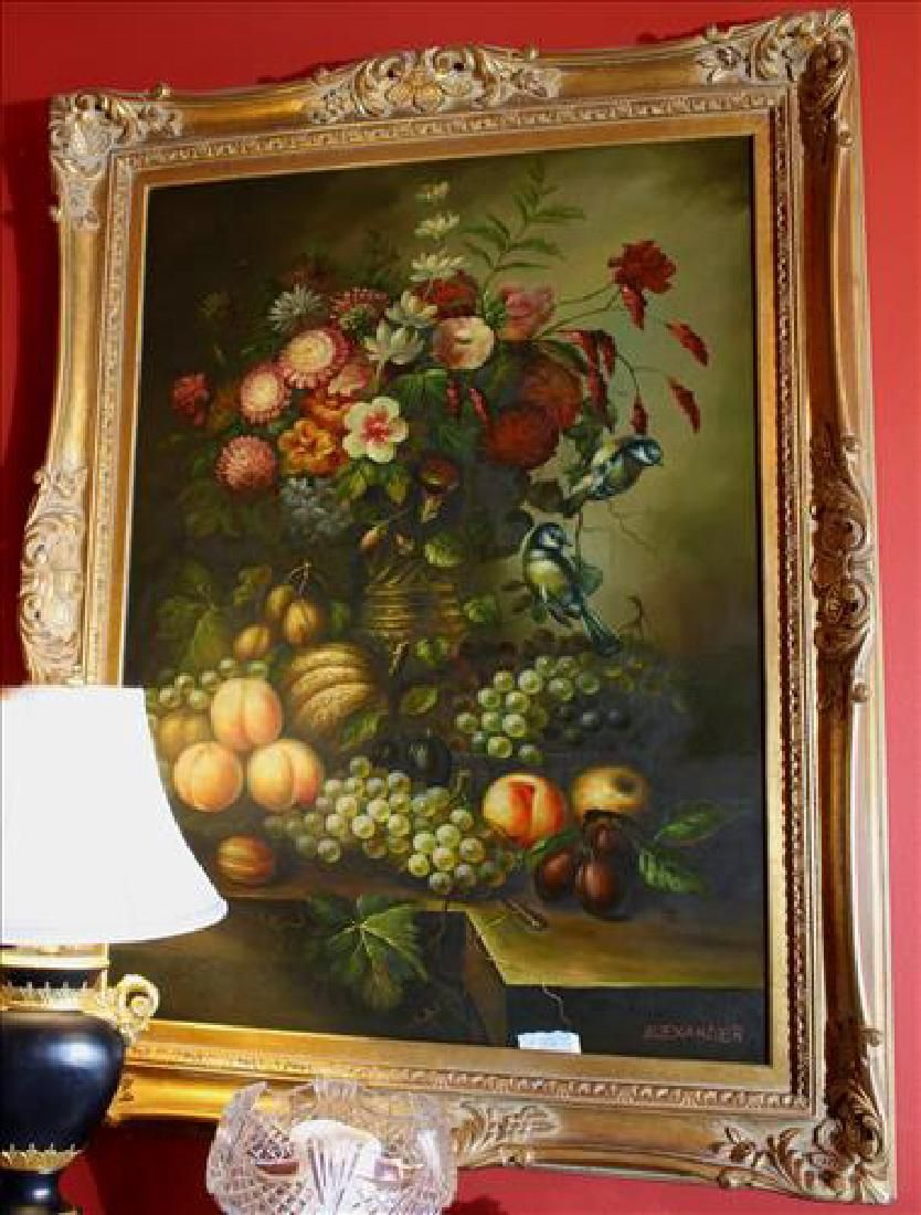 Large contemporary oil on canvas of still life with