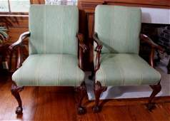 Pair mahogany Chippendale arm chairs with claw feet