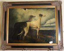 Large contemporary oil on board of Whippets 405 x 50