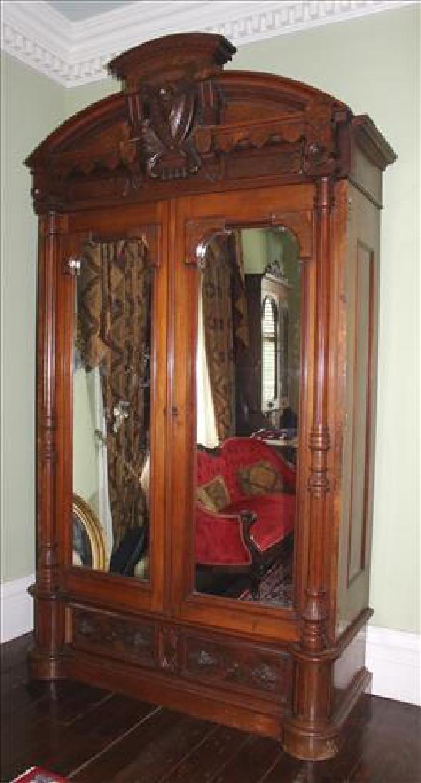 Oversize walnut Victorian wardrobe w very ornate