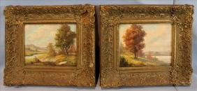 Signed Pair Of Victorian Oil On Board Of Lake Scene, 14