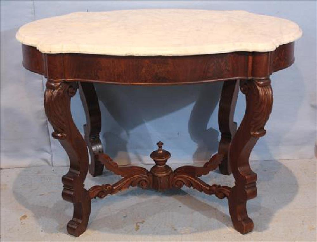 Victorian marble top table jpg - Victorian Marble Top Table 27 In T 29 In W 26