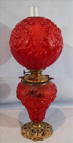 Victorian Red Satin Gone With The Wind Lamp, Still Oil