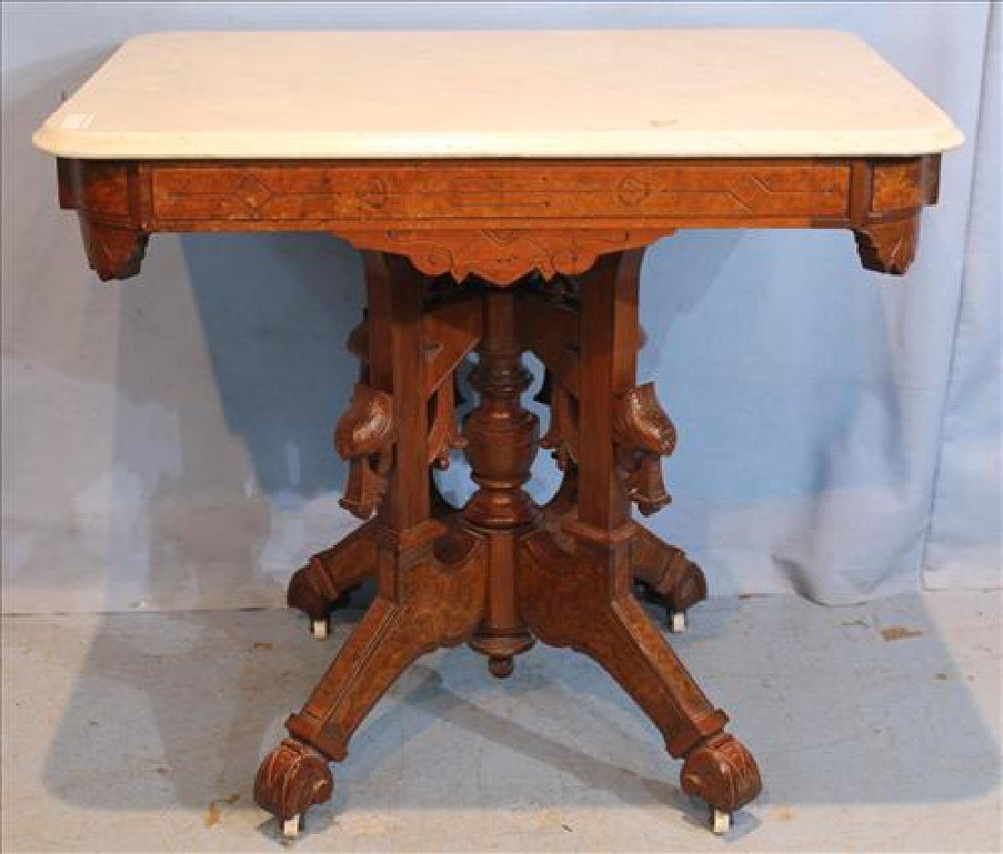 Walnut Victorian Square White Marble Top Table