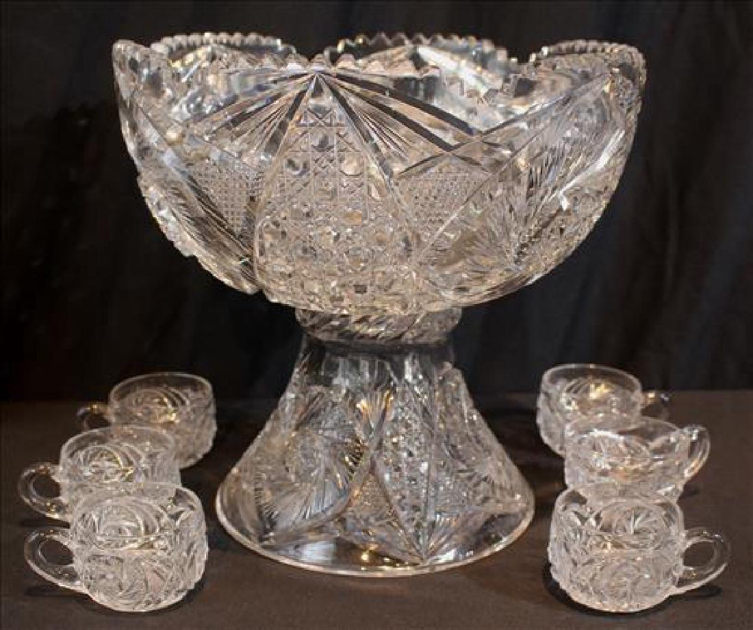 2 piece brilliant pinwheel cut glass punch bowl, 12 in.