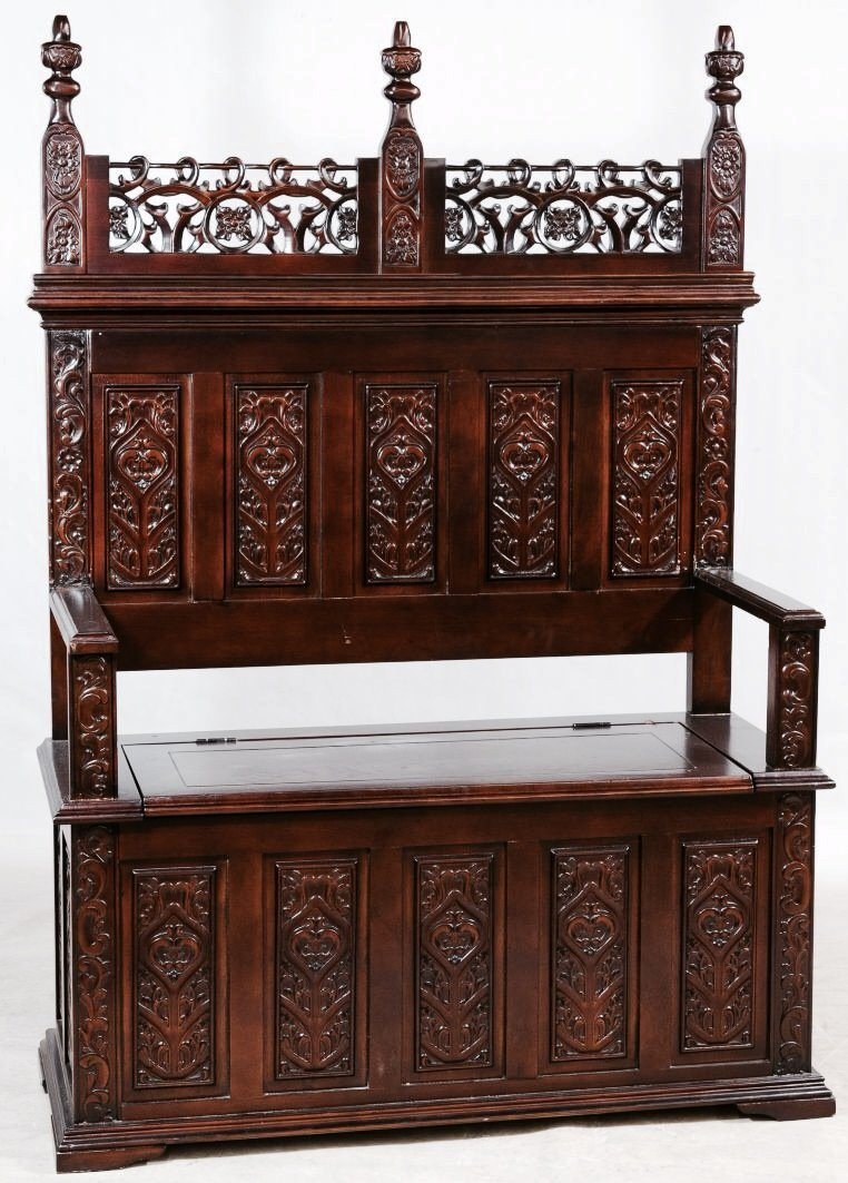 Gothic style carved lift seat hall seat