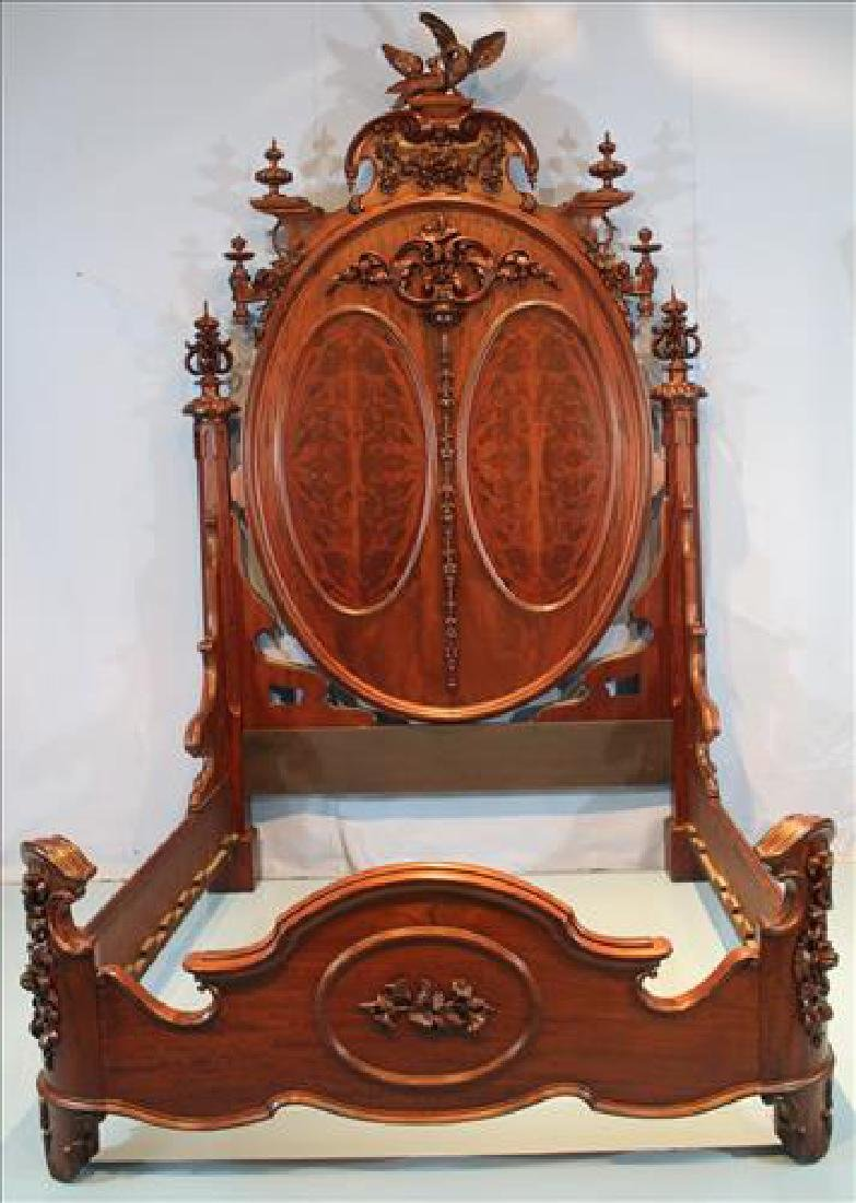 Mahogany heavily carved Lincoln bed by Mitchell &