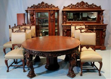 11 Pc. R.J. Horner mahogany dining room suite w atlas