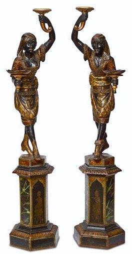 Important pair of 19th Century polychromed blackamoors
