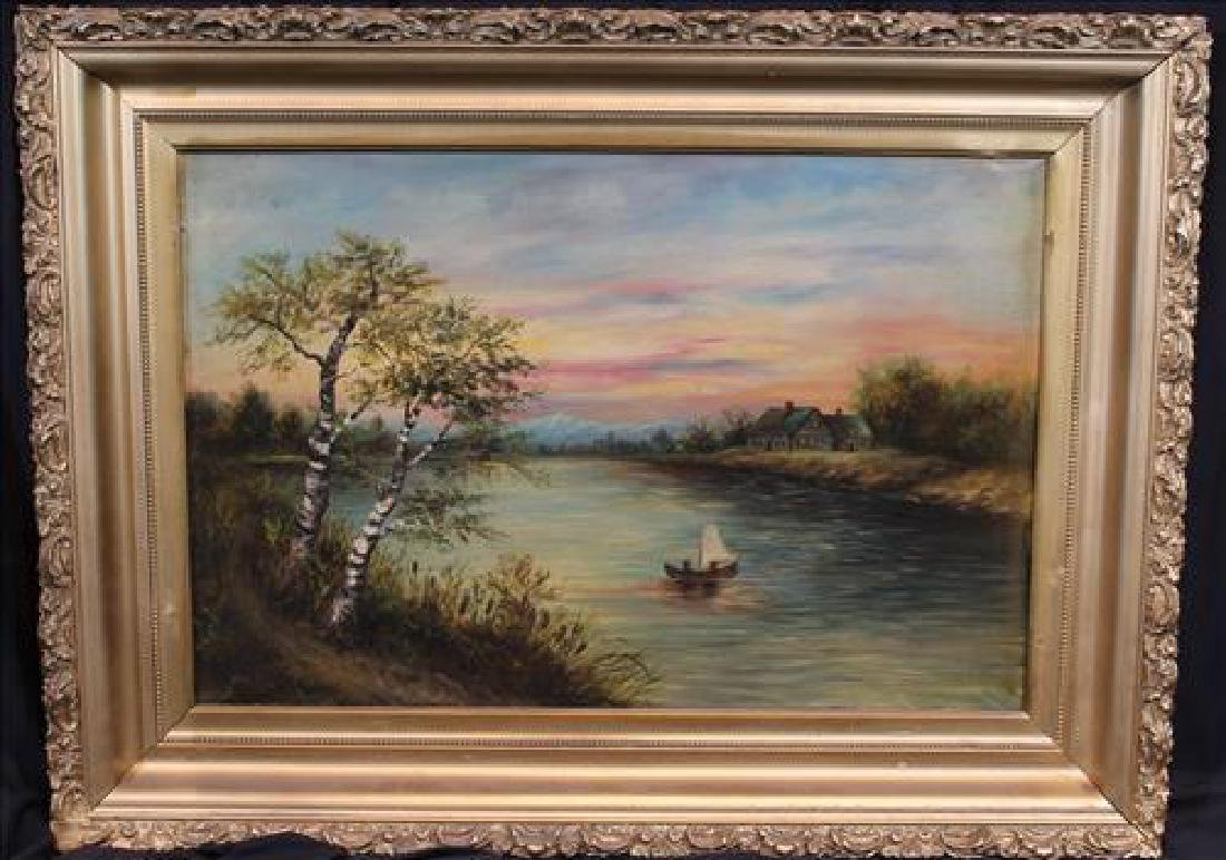 Oil on canvas of river scene with boat and cabin, 29 x