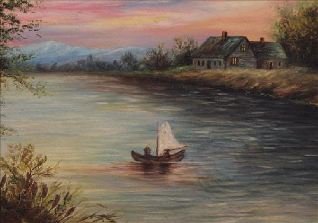 Oil on canvas of river scene with boat and cabin, 29 x - 3
