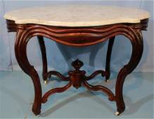 Rosewood Victorian turtle top table w white marble