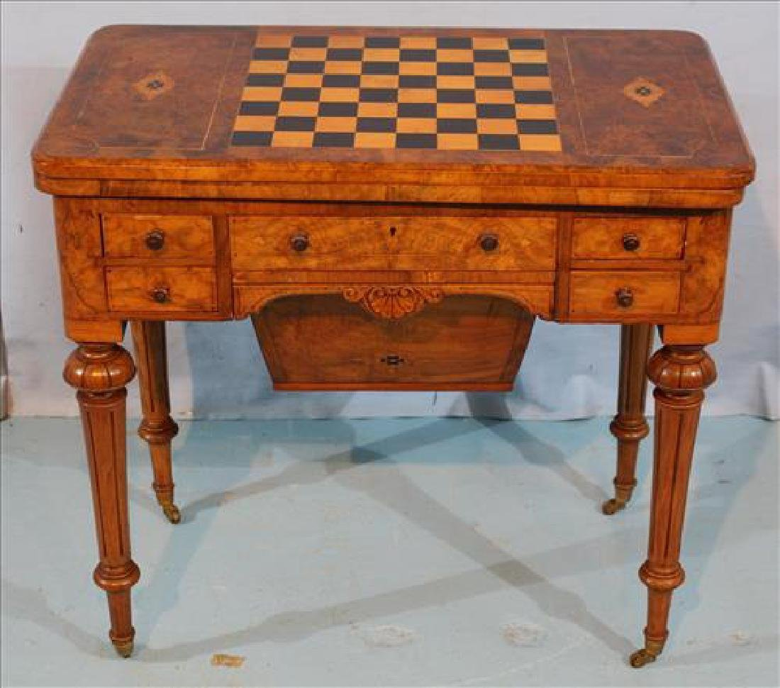 Burl walnut sewing table with checkerboard top