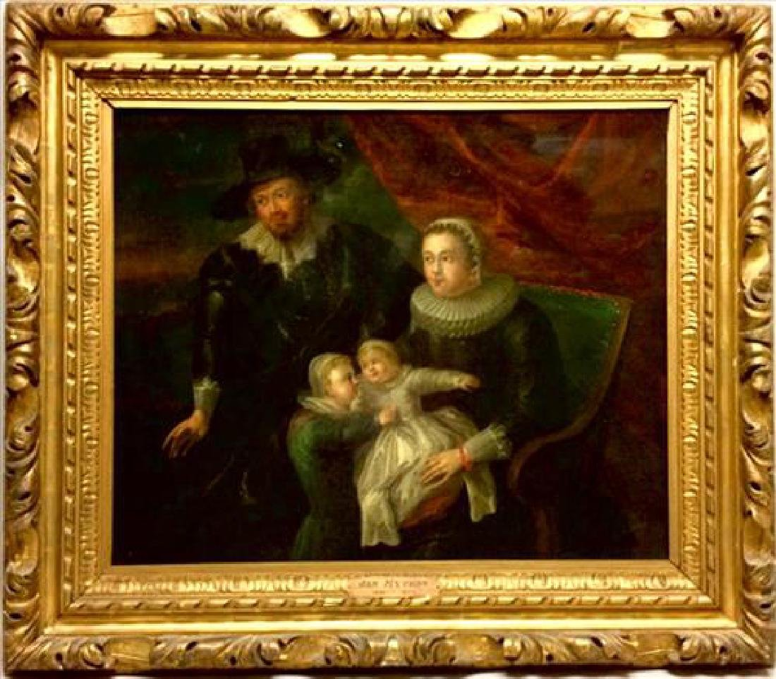 17th Century Dutch Family Oil Painting in Gilt wood