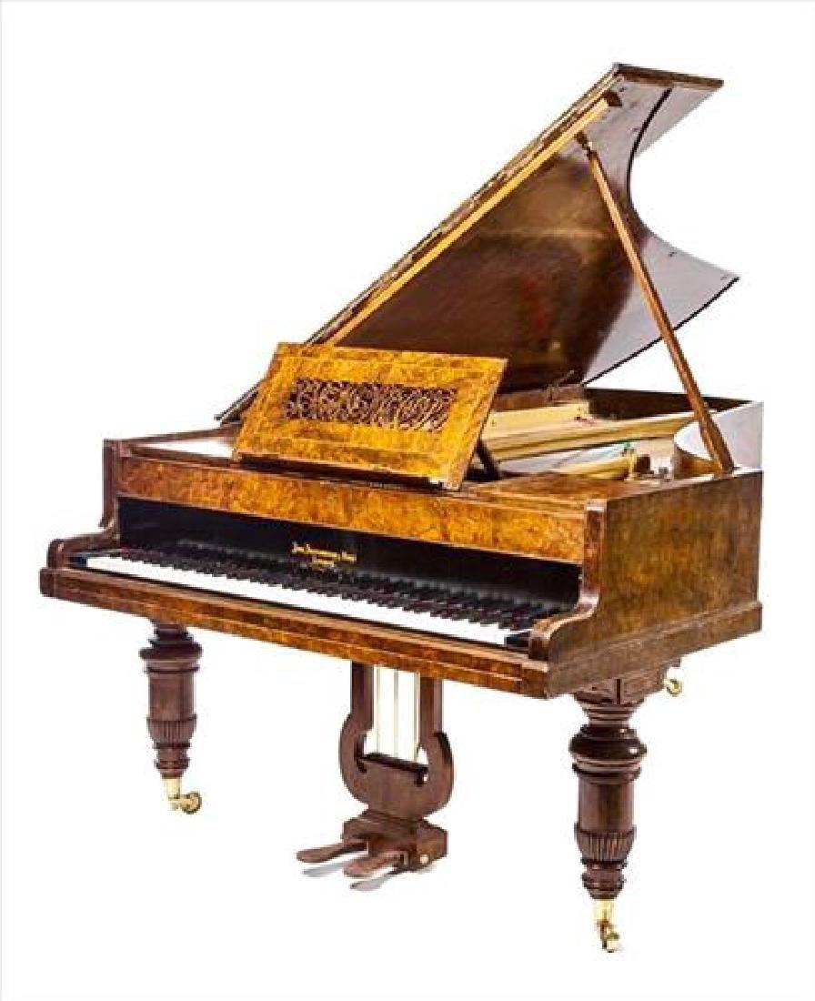 Magnificent John Broadwood & Sons Burl Grand Piano