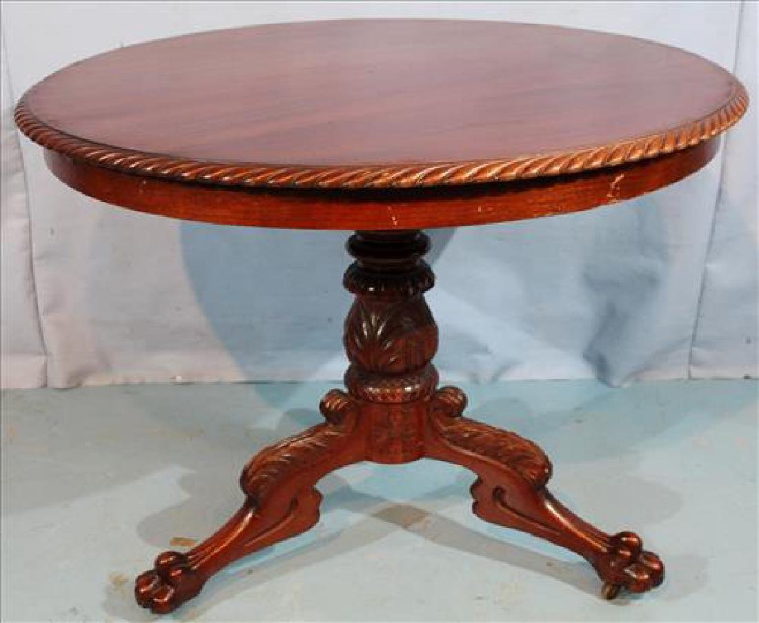 Mahogany breakfast table with gadrooned edge