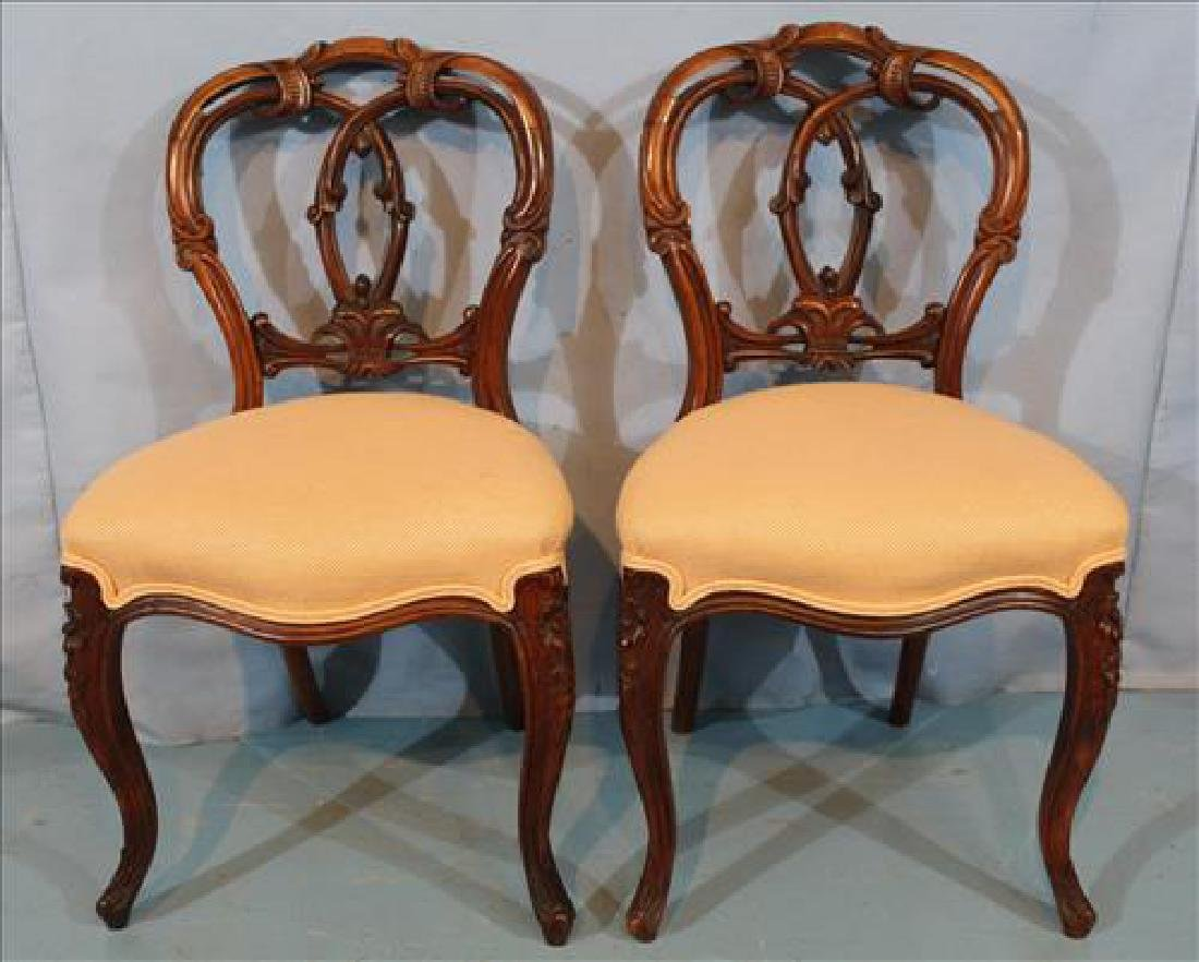 Pair rosewood rococo side chairs with yellow upholstery