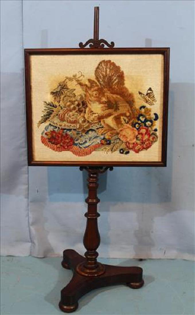 Victorian rosewood fire screen with needlepoint
