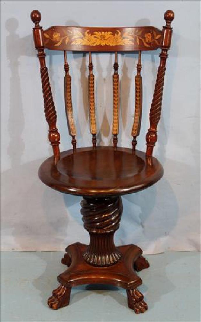 Mahogany inlaid swivel piano stool
