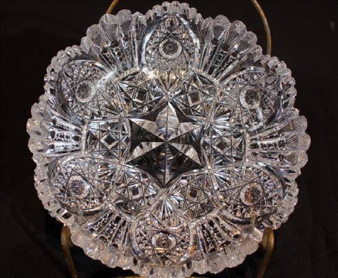 Small brilliant cut glass bowl, 2 in. T, 8 in. Dia.