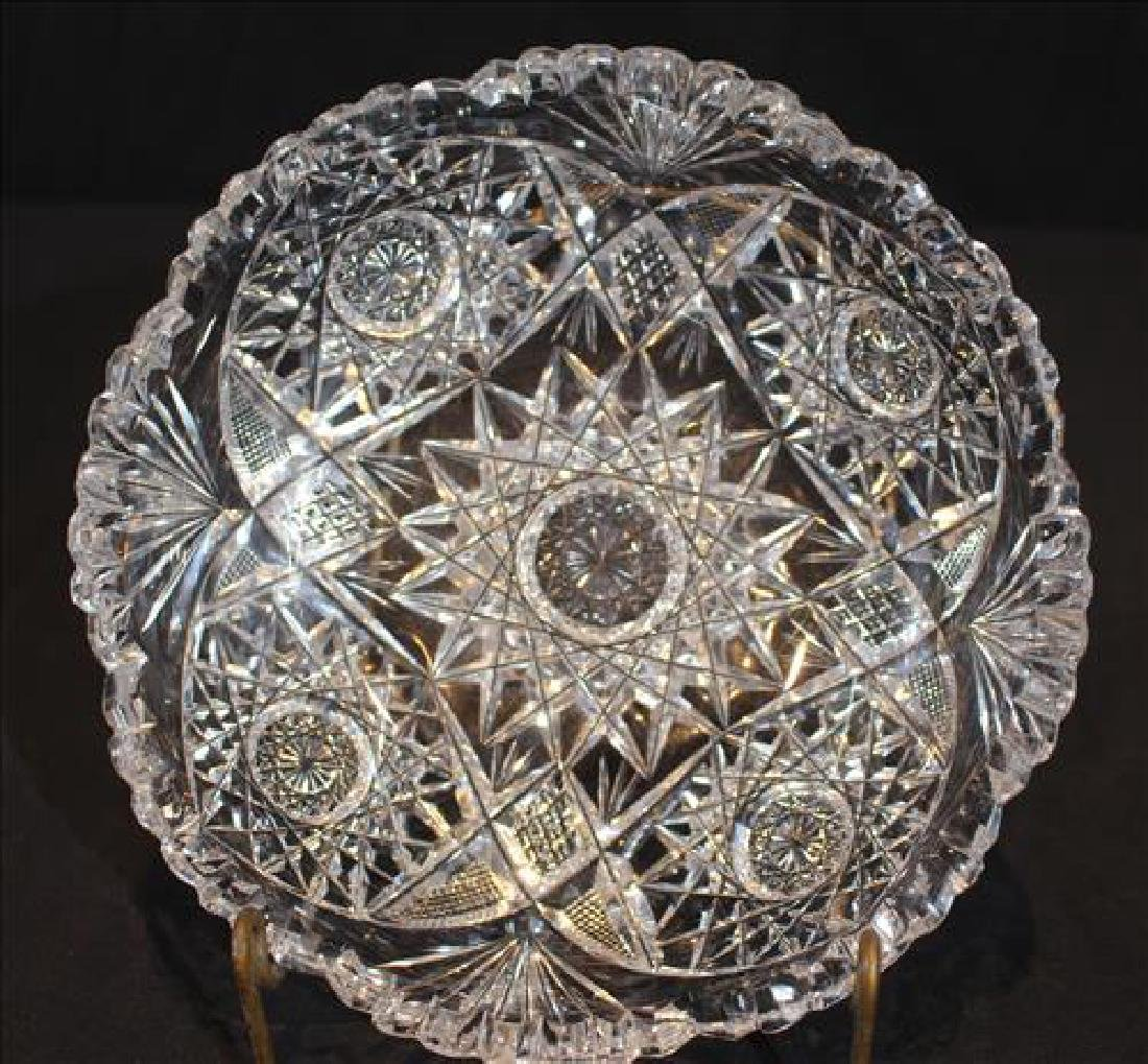 Brilliant cut glass bowl, 2.5 in. T, 9 in. Dia.