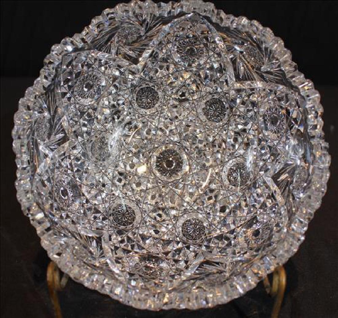Brilliant cut glass bowl, 3.5  in. T, 8 in. Dia.