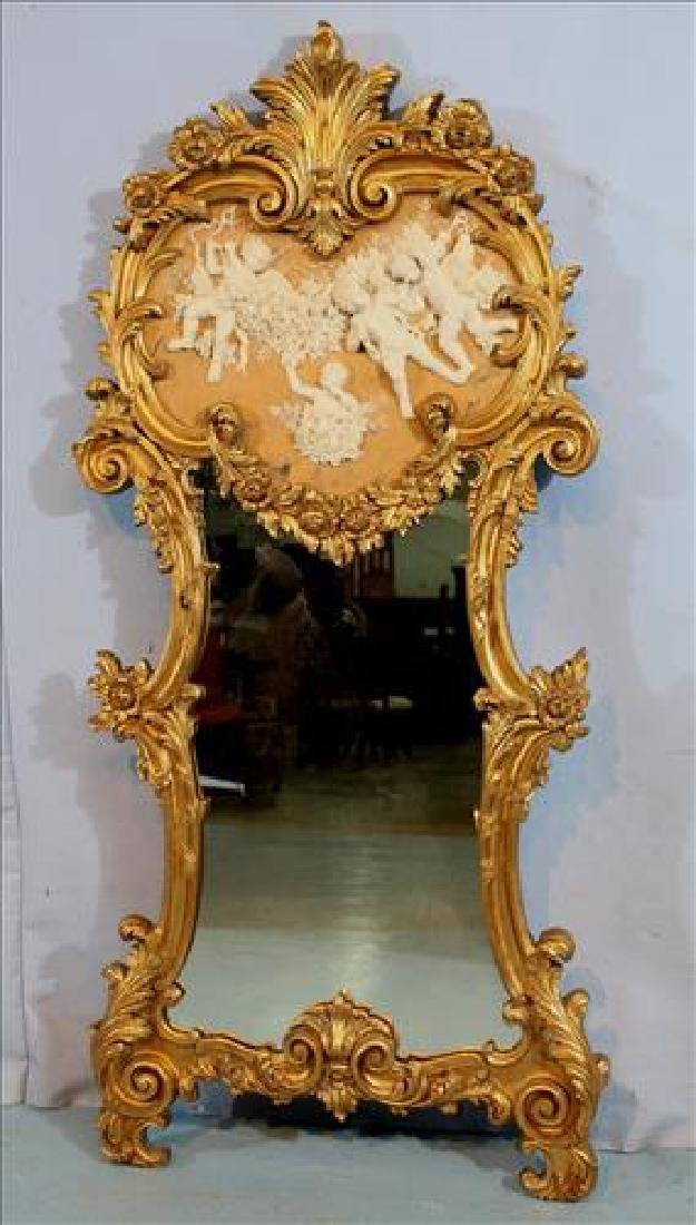 Contemporary French mirror with applied figures